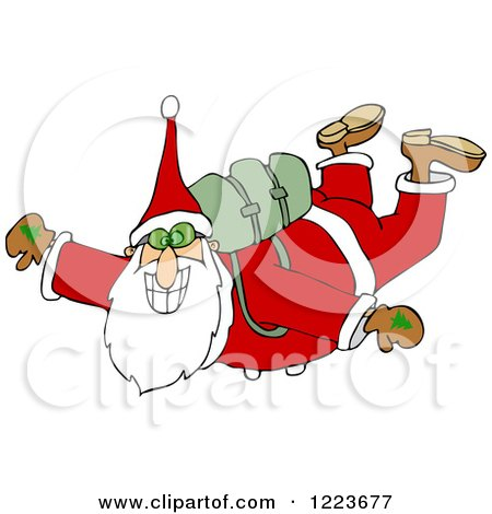 Clipart of Santa Free Falling While Skydiving - Royalty Free Vector Illustration by djart