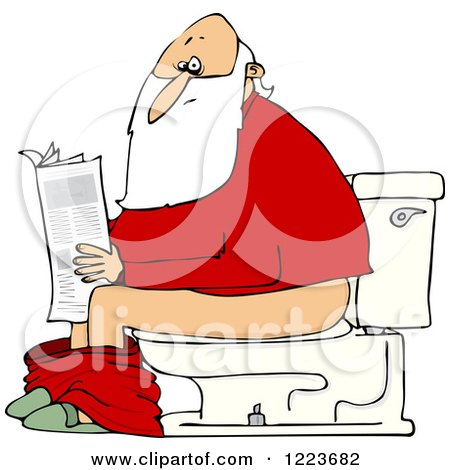 Clipart of Santa Reading the Newspaper on a Toilet - Royalty Free Vector Illustration by djart