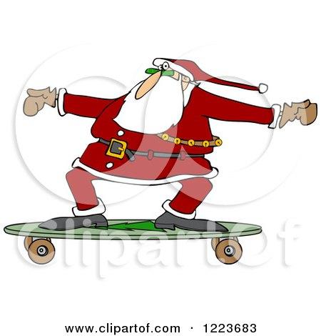 Clipart of Santa Skateboarding on a Longboard - Royalty Free Vector Illustration by djart