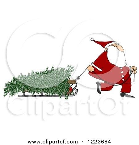 Clipart of Santa Pulling a Fresh Cut Christmas Tre on a Sled - Royalty Free Illustration by djart