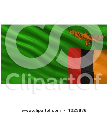 Clipart of a 3d Waving Flag of Zambia with Rippled Fabric - Royalty Free Illustration by stockillustrations
