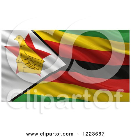 Clipart of a 3d Waving Flag of Zimbabwe with Rippled Fabric - Royalty Free Illustration by stockillustrations