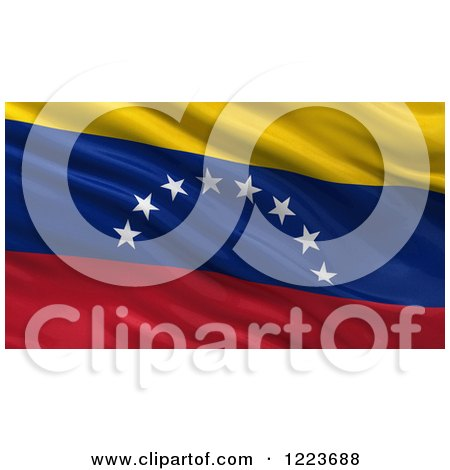 Clipart of a 3d Waving Flag of Venezuela with Rippled Fabric - Royalty Free Illustration by stockillustrations