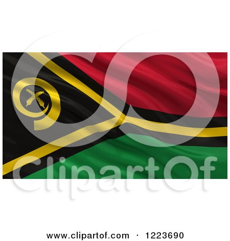 Clipart of a 3d Waving Flag of Vanuatu with Rippled Fabric - Royalty Free Illustration by stockillustrations