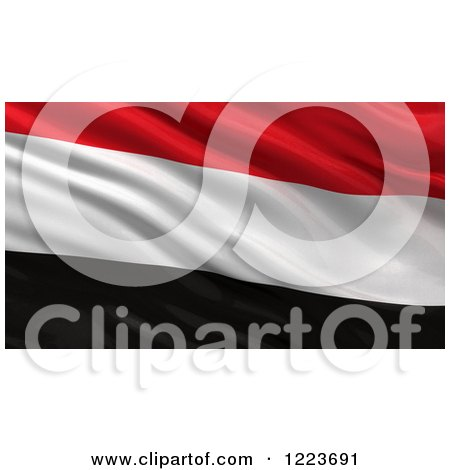 Clipart of a 3d Waving Flag of Yemen with Rippled Fabric - Royalty Free Illustration by stockillustrations