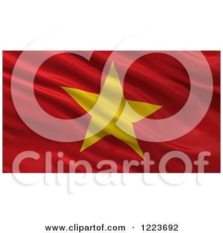 Clipart of a 3d Waving Flag of Vietnam with Rippled Fabric - Royalty Free Illustration by stockillustrations