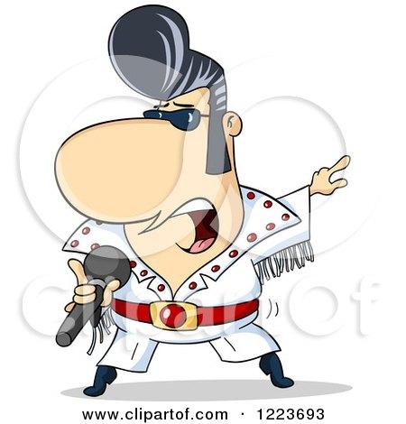 Clipart of a Rock N Roll Elvis Impersonator Singer - Royalty Free Vector Illustration by Holger Bogen