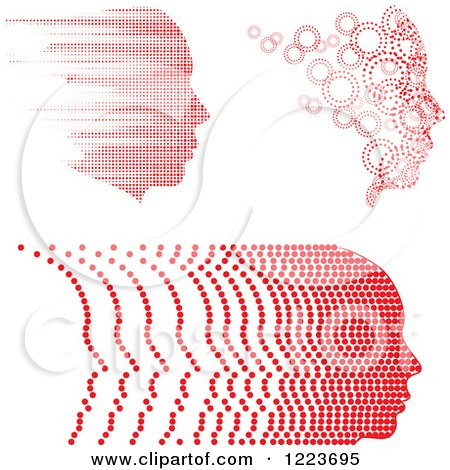Clipart of a Red Faces in Profile with Trails of Bubbles and Blur - Royalty Free Vector Illustration by BestVector