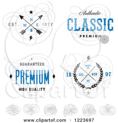 Clipart of a Quality Designs with Swirls - Royalty Free Vector Illustration by BestVector