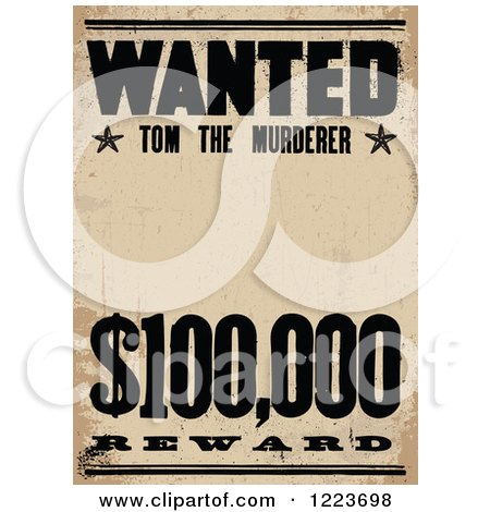 Clipart of a Vintage Wanted Tom the Murderer Poster - Royalty Free Vector Illustration by BestVector