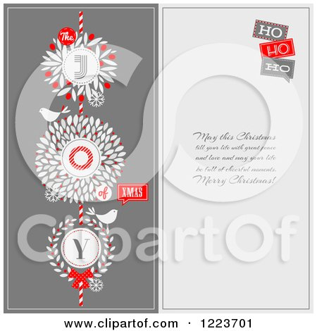 Clipart of a Retro Bird and Wreath Christmas Greeting Design with Text - Royalty Free Vector Illustration by elena