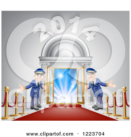 Clipart of a New Year 2014 Venue Entrance with a VIP Red Carpet and Welcoming Friendly Doormen 2 - Royalty Free Vector Illustration by AtStockIllustration