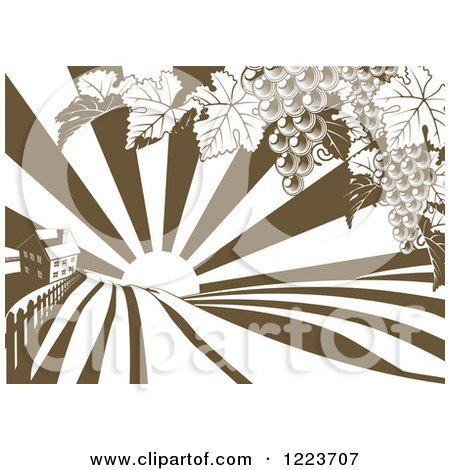 Clipart of a Farm House and Rolling Hills with Winery Grape Vines and Sun Rays in Brown and White - Royalty Free Vector Illustration by AtStockIllustration