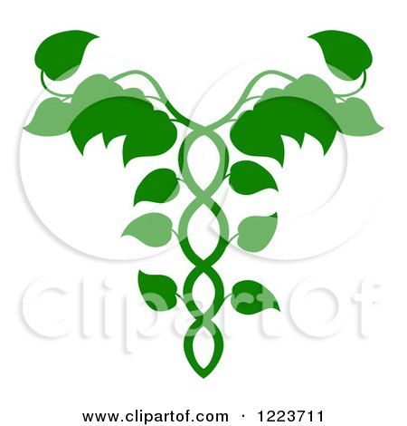 Clipart of a Leafy Green Medical Dna Caduceus Plant - Royalty Free Vector Illustration by AtStockIllustration