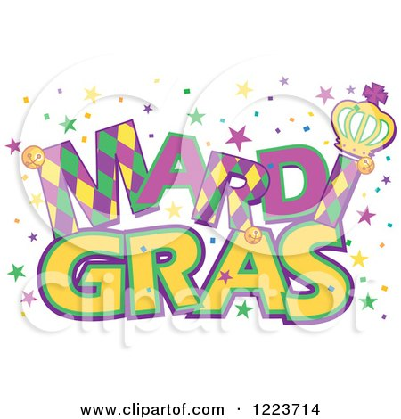 Clipart of Mardi Gras Text with Stars - Royalty Free Vector Illustration by Pushkin