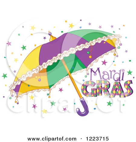 Clipart of Mardi Gras Text with Stars and an Umbrella - Royalty Free Vector Illustration by Pushkin