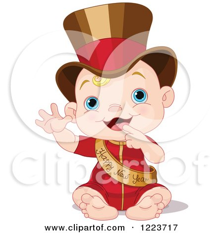 Clipart of a Waving Baby Wearing a Top Hat and Happy New Year Sash - Royalty Free Vector Illustration by Pushkin