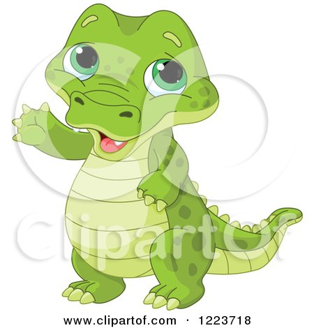 Clipart of a Cute Baby Alligator Waving - Royalty Free Vector Illustration by Pushkin