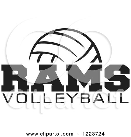 Clipart of a Black and White Ball with RAMS VOLLEYBALL Text - Royalty Free Vector Illustration by Johnny Sajem