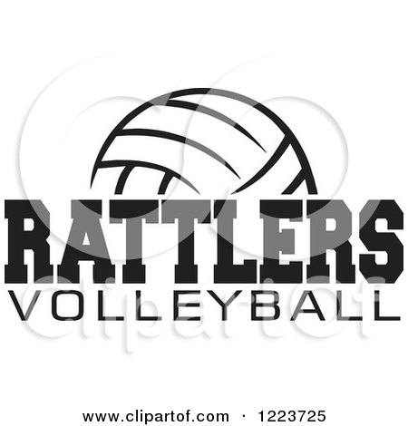Clipart of a Black and White Ball with RATTLERS VOLLEYBALL Text - Royalty Free Vector Illustration by Johnny Sajem