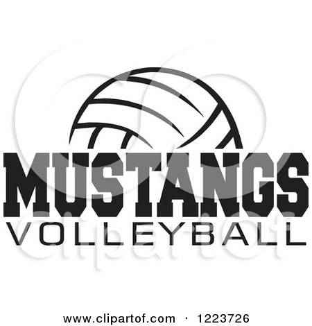 Clipart of a Black and White Ball with MUSTANGS VOLLEYBALL Text - Royalty Free Vector Illustration by Johnny Sajem