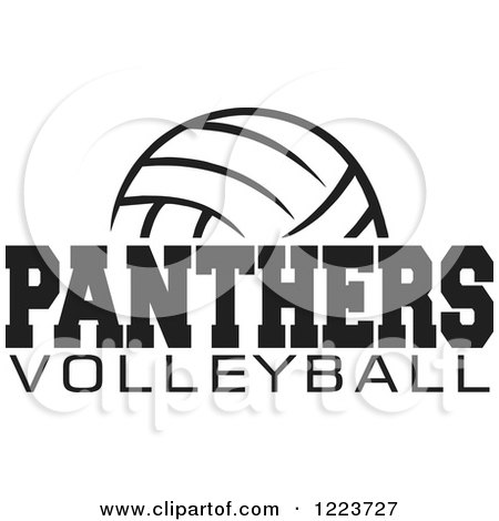 Clipart of a Black and White Ball with PANTHERS VOLLEYBALL Text - Royalty Free Vector Illustration by Johnny Sajem