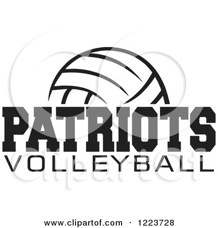 Clipart of a Black and White Ball with PATRIOTS VOLLEYBALL Text - Royalty Free Vector Illustration by Johnny Sajem