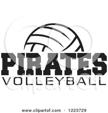 Clipart of a Black and White Ball with PIRATES VOLLEYBALL Text - Royalty Free Vector Illustration by Johnny Sajem