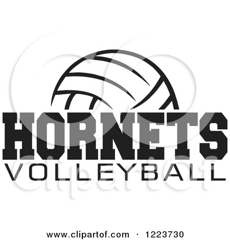 Clipart of a Black and White Ball with HORNETS VOLLEYBALL Text - Royalty Free Vector Illustration by Johnny Sajem