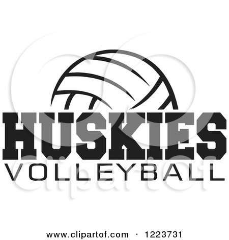 Clipart of a Black and White Ball with HUSKIES VOLLEYBALL Text - Royalty Free Vector Illustration by Johnny Sajem