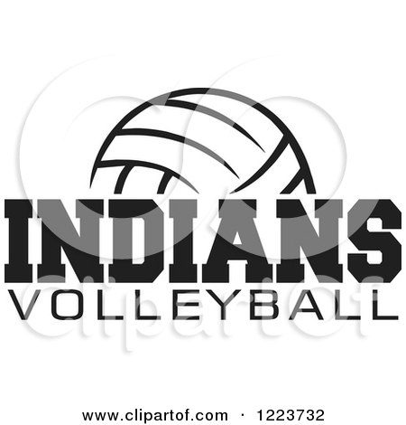 Clipart of a Black and White Ball with INDIANS VOLLEYBALL Text - Royalty Free Vector Illustration by Johnny Sajem