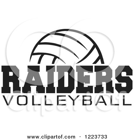 Clipart of a Black and White Ball with RAIDERS VOLLEYBALL Text - Royalty Free Vector Illustration by Johnny Sajem
