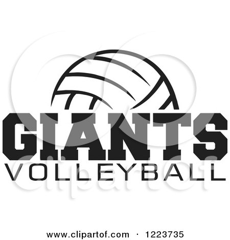 Clipart of a Black and White Ball with GIANTS VOLLEYBALL Text - Royalty Free Vector Illustration by Johnny Sajem