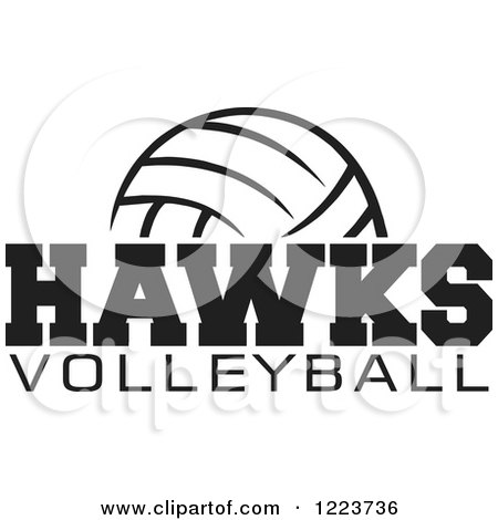 Clipart of a Black and White Ball with HAWKS VOLLEYBALL Text - Royalty Free Vector Illustration by Johnny Sajem