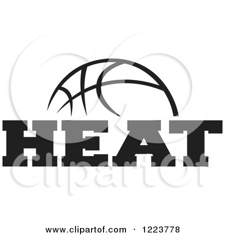 Clipart of a Black and White Basketball with HEAT Text - Royalty Free Vector Illustration by Johnny Sajem