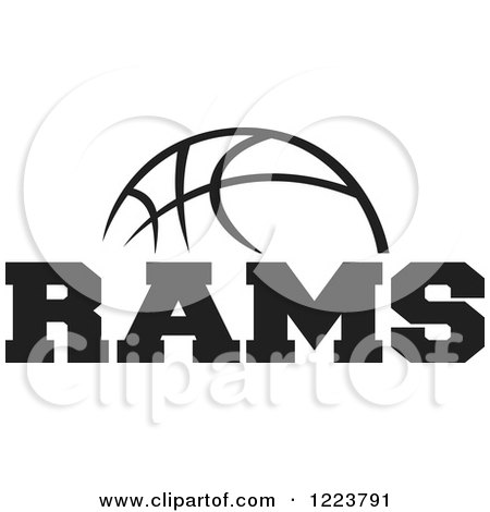 Clipart of a Black and White Basketball with RAMS Text ...