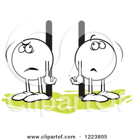 Clipart of Moodie Characters Standing Poles Apart - Royalty Free Vector Illustration by Johnny Sajem