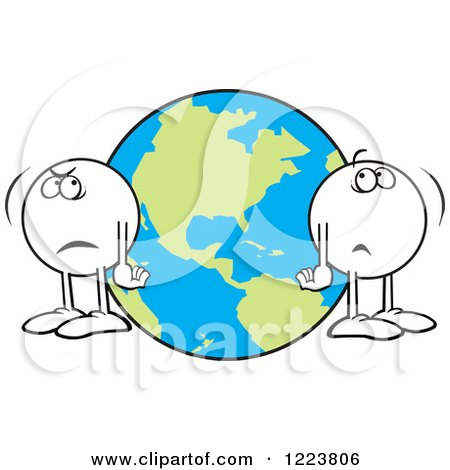 Clipart of Moodie Characters Standing a World Apart by Earth - Royalty Free Vector Illustration by Johnny Sajem