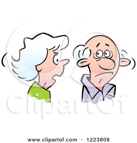 Clipart of a Senior Woman Nagging Her Husband - Royalty Free Vector Illustration by Johnny Sajem