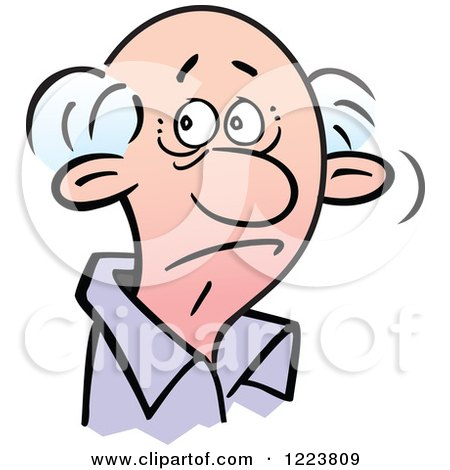 Clipart of a Senor Man with a Doubtful Expression - Royalty Free Vector Illustration by Johnny Sajem