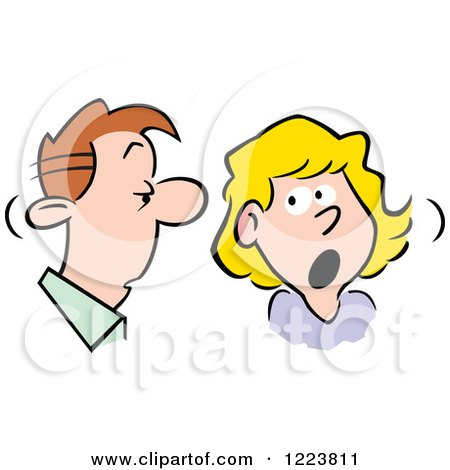 Clipart of a Man and Woman Talking over Shocking Gossip - Royalty Free Vector Illustration by Johnny Sajem