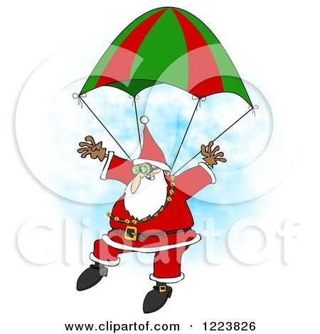 Clipart of a Skydiving Santa Descending with a Parachute - Royalty Free Illustration by djart