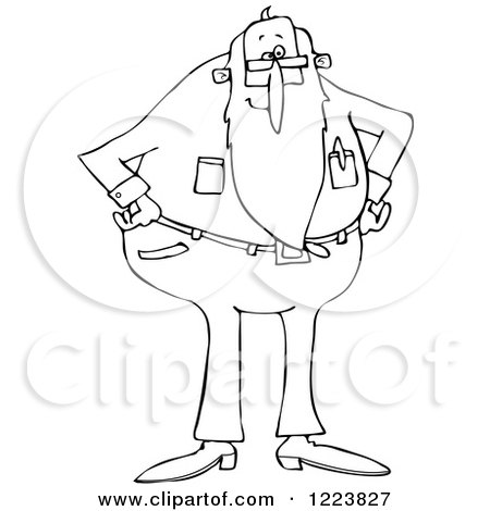 Clipart of an Outlined Stern Senior Man with a Beard, Standing with His Hands on His Hips - Royalty Free Vector Illustration by djart