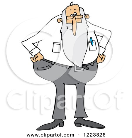 Clipart of a Stern Senior Man with a Beard, Standing with His Hands on His Hips - Royalty Free Vector Illustration by djart