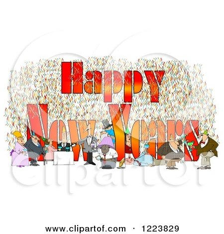 Clipart of People Having Fun at a Party with Happy New Years Text - Royalty Free Illustration by djart