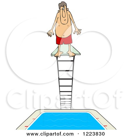 Clipart of a Man Standing at the Top of a High Dive Diving Board - Royalty Free Vector Illustration by djart