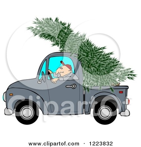 Clipart of a Man Driving a Pickup Truck with a Christmas Tree on Top - Royalty Free Illustration by djart