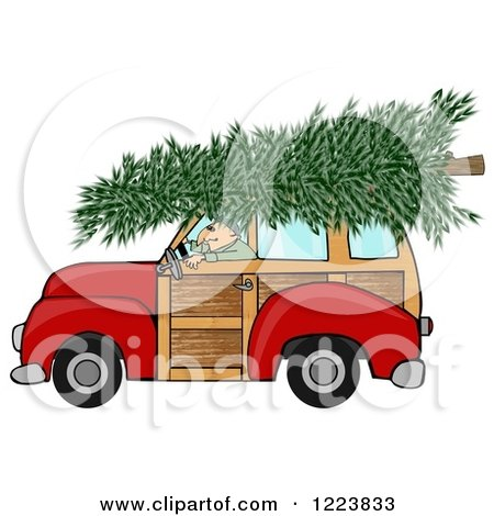 Clipart of a Man Driving a Red Woody Car with a Christmas Tree on the Roof - Royalty Free Illustration by djart