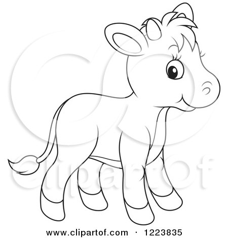 Clipart of an Outlined Cute Baby Calf Cow - Royalty Free Vector Illustration by Alex Bannykh