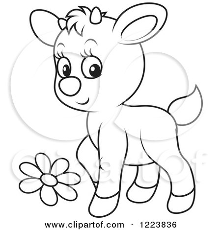 Clipart of an Outlined Cute Baby Goat with a Flower - Royalty Free Vector Illustration by Alex Bannykh